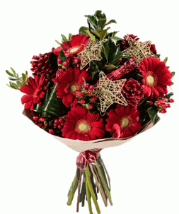 bouquet of gerberas and pine cones