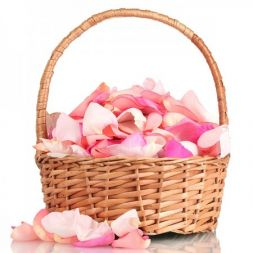 pink rose petals in a basket