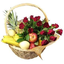 Basket with fruits and flowers ''Romantic''