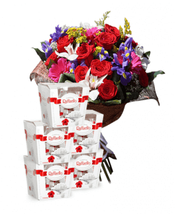 gift set of flower bouquet and Rafaello