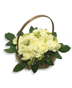 basket of white roses and eustomas