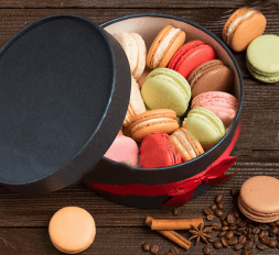 Macarons in a round box