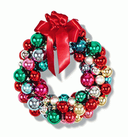 A decorative wreath of Christmas balls