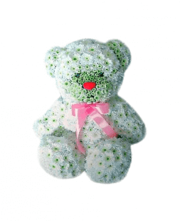 arrangement Teddy bear made of flowers