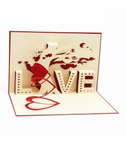 card with 3D pattern LOVE