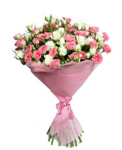 bouquet of cream and pink spray roses