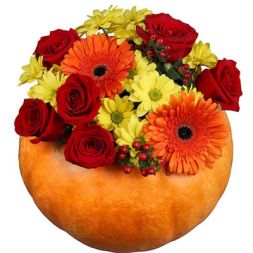 "Pumpkin with flowers ""Good Halloween"""