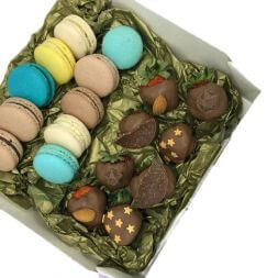 set with macarons and chocolate