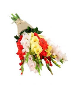 buchet сu gladiole in ambalaj craft
