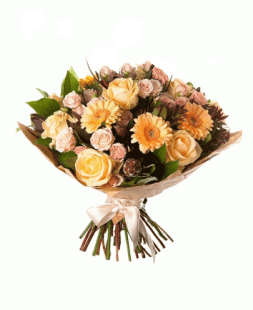 bouquet of creamy roses and gerberas