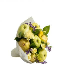 yellow bouquet of fruits and flowers