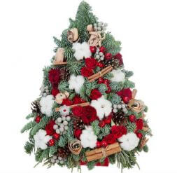 Christmas tree with flowers 50 cm