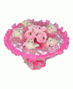 bouquet of bears and roses from candies