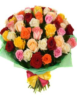 bouquet of 51 roses of different colors