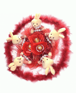red bouquet of little bunnies