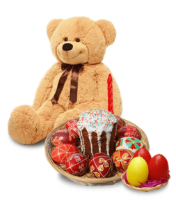 Easter gift with teddy bear
