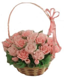 roses bouquet of candies in the basket