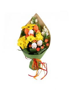 bouquet of roses, chrysanthemum, eustoma