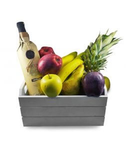 gift basket with wine and fruits