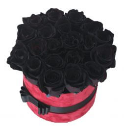 21 black roses in a hat box