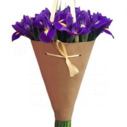 bouquet of irises in a cone
