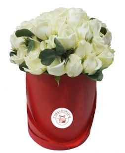 roses in a round box