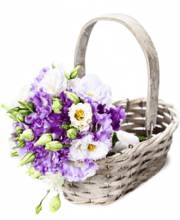 basket with purple and white eustomas
