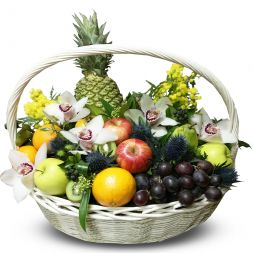 Basket with fruits and flowers '' Tropical ''