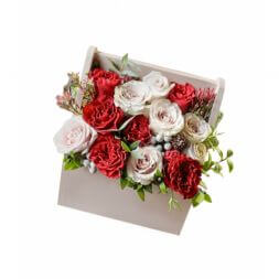 Roses in a wooden box