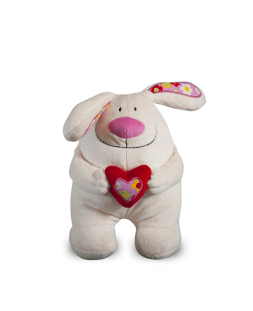 soft toy bunny with heart
