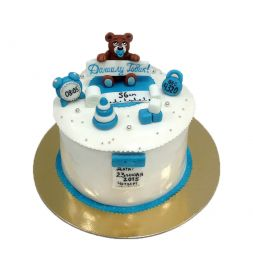 children cake with figurines on order
