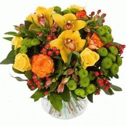 bouquet of orchids, chrysanthemum, roses