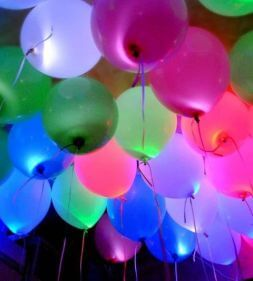 glowing balloons with helium