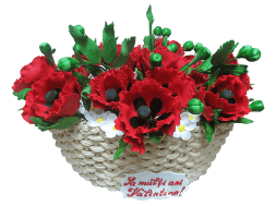 cake in shape of a basket with poppies