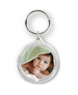 Round plastic trinket with print
