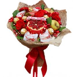 bouquet of fruits and chocolates