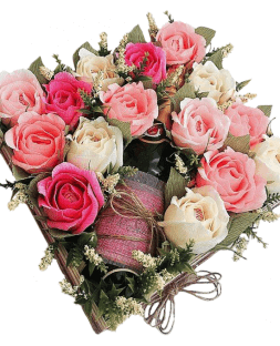 assorted roses with wine in the box