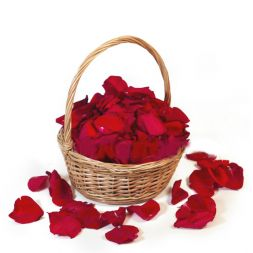 Red rose petals in a basket
