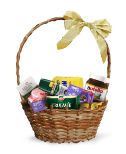 gift basket with tea and sweets