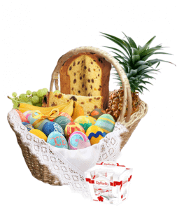 basket with painted Easter eggs