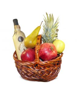 basket with fruits and semisweet wine