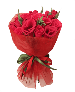 red bouquet of roses from sweets
