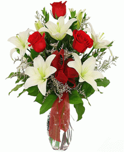 bouquet of red roses, white lilies
