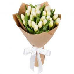 white tulips in a bouquet Solemnity
