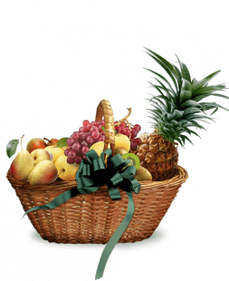 basket with fruits In the palm shadow