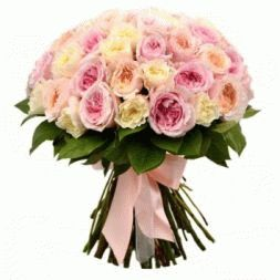 bouquet of cream and peach roses