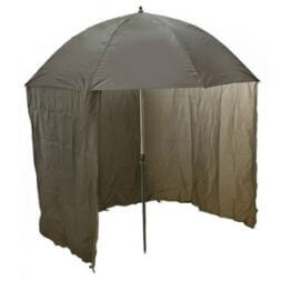 Large folding umbrella with awning.