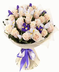 bouquet of cream roses and irises