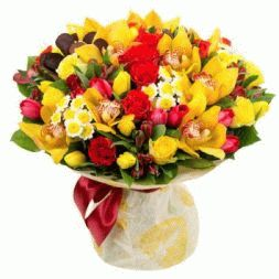 bouquet of roses, tulips and orchids