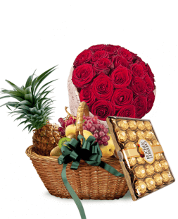 set of fruit basket and bouquet of roses